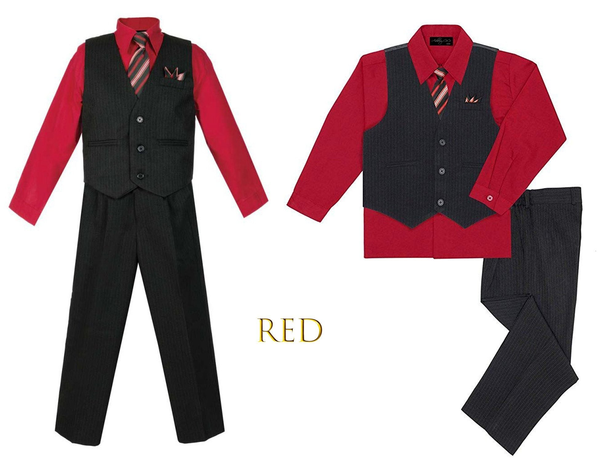 4pc Formal Baby Teen Boy Coral Red Vest Necktie Silver Pants Suits S-7 L: 12-18 months