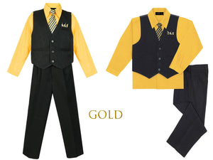 Baby to Big Boys Black Pinstripe Vest 4pc Suit with Pants Shirt Tie Hanky, Yellow, Peach, Gold, Orange, Wedding Ring Bearer, 6m-20