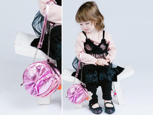Girl Pink Round Glitter Handbag with Large Bow, Party, Weekends, Vacation