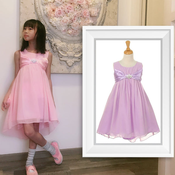 Girl Rhinestone Brooch High-Low Chiffon Draped Dress, Blush Pink, Lilac Lavender Purple, Wedding Flower Girl, Easter, Size 4-8