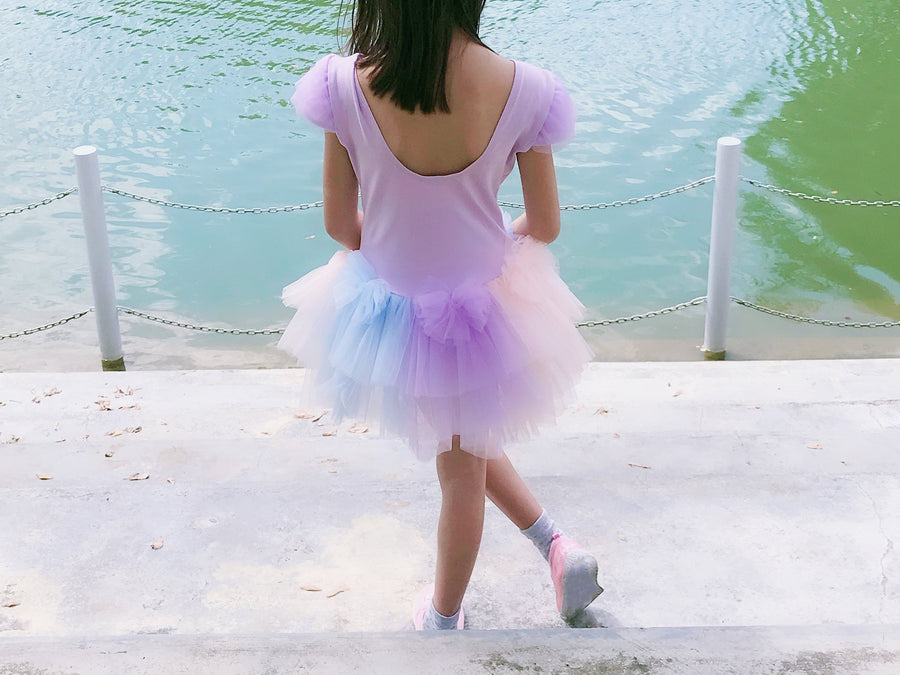 Little to Big Girl Whimsical Lilac Ballet Tutu Dress, 3 Color Bows Blue Purple Blush, Easter Party Pageant Special Occasions, Size 2-7
