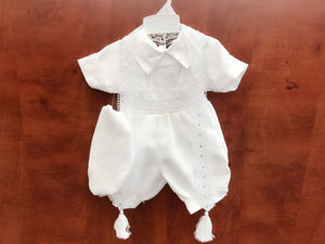 Baby Boy Heirloom Quality Baptism Christening White Suspenders & Shorts 5-piece Set with Beret Hat, Short Sleeves, Sequins Lace Scarf, 0-24M