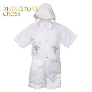 Baby to Boy Heirloom Baptism Christening White Bridal Satin 5-piece Vest Set, with Hat, Bow Tie, Short Sleeves Shirt, Shorts, 0-24M, 2T-4T