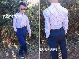 Boys Slim Fit Long Sleeve Dress Shirt Gryffin Print and Dress Pants, Aqua, Light Blue, Lavender, White, Indigo, Navy, Gray, Khaki, Black