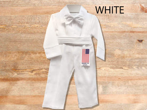 Baby Boy Retro Newsboy 4 piece Natural Linen Suspender Pants Set, Blue Ivory Gray Beige Black Indigo White, Baptism Wedding Ring Bearer