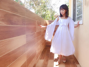 Girl White Bridal Satin 2 Piece Gown Long Dress with Shawl, Wedding Flower Girl, Holy Communion, Graduation, Size 4-10