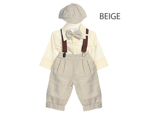 Baby Toddler Retro 5 piece Natural Linen Knickers Newsboy Golfer Set, Brown Gray Beige White Ivory, Wedding Ring Bearer, 6 to 24 mth