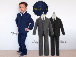 Baby to Teen Deluxe Pinstripe 5-Piece Suit, Navy Gray Black, Wedding Ring Bearer, Prom, Baby 6 months to Youth 20