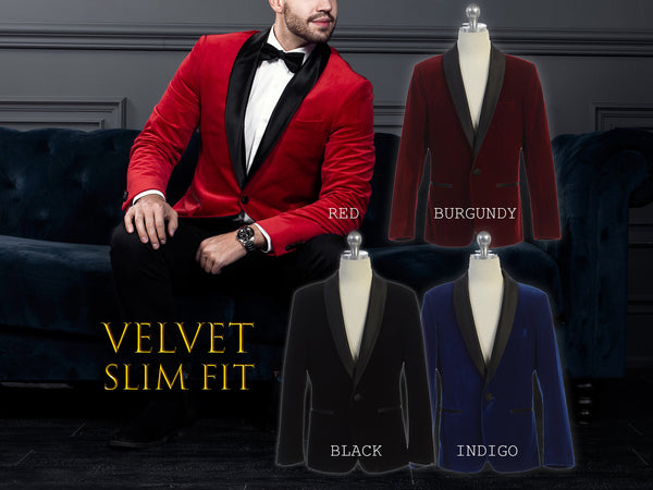 Men Slim Fit Premium Velvet Suit Blazer Black Satin Shawl Lapel, Black, Indigo Blue, Burgundy Wine, Red, Size 34R to 46R