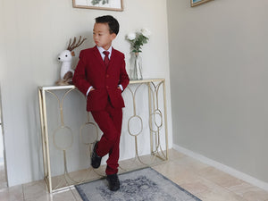 Toddler to Teen Slim Fit Premium 5-Piece Suit Tuxedo, Apple Red, Wedding Ring Bearer, Size 18m to Y18