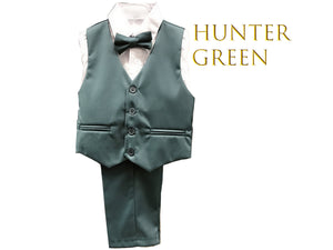Toddler to Preteen Hunter Green, Teal Turquoise, 4-piece Vest Suit: Shirt, Bow Tie, Pants, Wedding Ring Bearer, Size 2-16