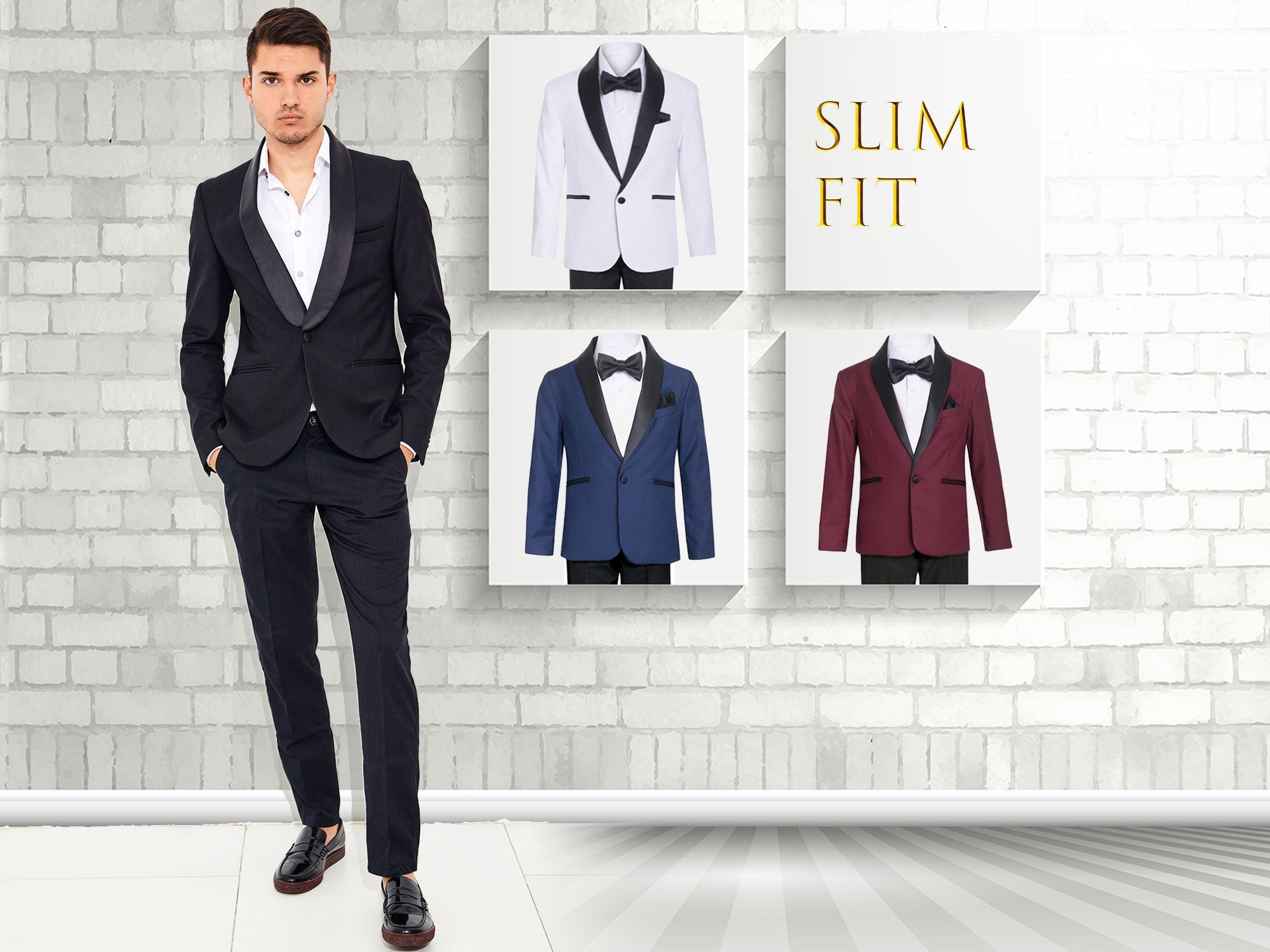 Men Slim Fit Premium 2-Piece Suit Black Satin Shawl Lapel, Black, White, Indigo Blue, Burgundy Wine, Size 34R to 46R