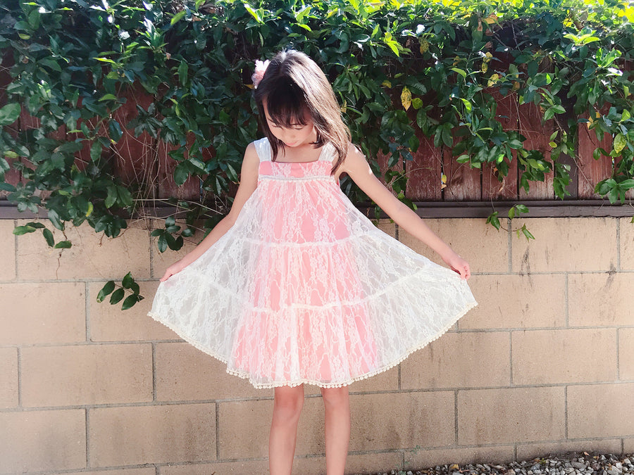 Toddler to Preteen Girl Soft Whimsical Floral Lace Pom Pom Trim No Zip Dress, Wedding Flower Girl Easter, Pink Blush Mint Gray Yellow