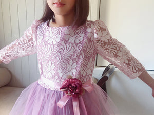 Toddler to Preteen Girl Mauve Lilac Purple Floral Lace Tulle, Deep V Back 3/4 Sleeve Tea Length Dress, Pageant Wedding Flower Girl, Size2-12