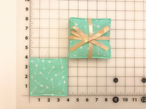 Reversible Cotton Fabric Coasters 4, Aqua Mint,Dots Arrows,Mug Cup Glass,Cold Hot Drink Tea Coffee, Housewarming New Home Gift, Easter Party
