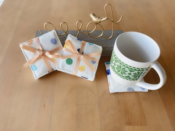 Reversible Cotton Fabric Coasters 4, Ivory with Blue Green Yellow Dots, Mug Cup Glass, Cold Hot Drink, Housewarming New Home Party Gift