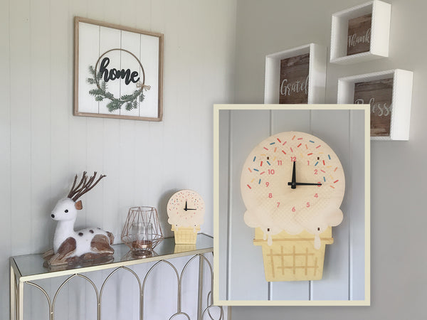 Wood Ice Cream Wall and Tabletop Clock, Nursery Kids Bedroom Home Decor, Baby Shower Children Boy Girl Birthday Party Gift