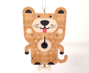 Wood Dog Pendulum Wall Clock, Nursery Kids Bedroom Home Decor, Baby Shower Children Boy Girl Birthday Party Gift