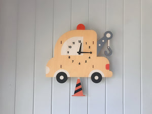 Wood Tow Truck Pendulum Wall Clock, Nursery Kids Bedroom Home Decor, Baby Shower Children Boy Birthday Party Gift