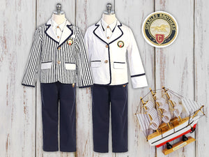 Boys Nautical Marine Captain 3-pieces Suit, Navy White Jacket, Pants, Shirt, Birthday, Party, Photo Shoot, Size 4 to 14