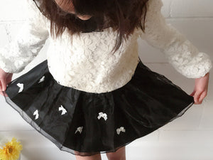 Girls Elegant French Lace White Sweatshirt and Black Tulle Leather Skirt with Ribbons, size 8 - 14