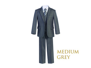 Little to Big Boy Slim Fit 7-Piece Gray Suit, Wedding Ring Bearer, Prom, Size 1-18
