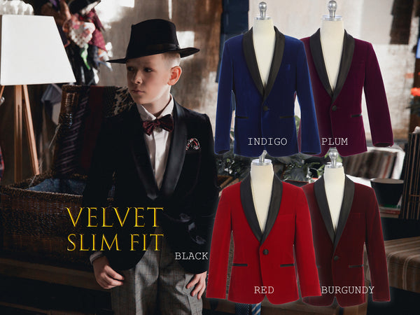 Toddler to Big Boy Slim Fit Luxurious Velvet Suit Blazer Coat Black Satin Shawl Lapel, Black, Indigo, Burgundy, Plum, Red, Wedding Ring Bearer, Size 1-20