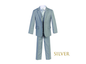 Little to Big Boy Slim Fit 7-Piece Silver Suit, Wedding Ring Bearer, Prom, Size 1-18