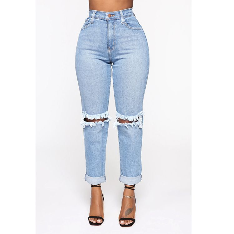 Ripped Knee Holes Distressed Denim Jeans With Holes