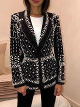 Classy Brand Full Embellishments Beaded One Button Black Blazer