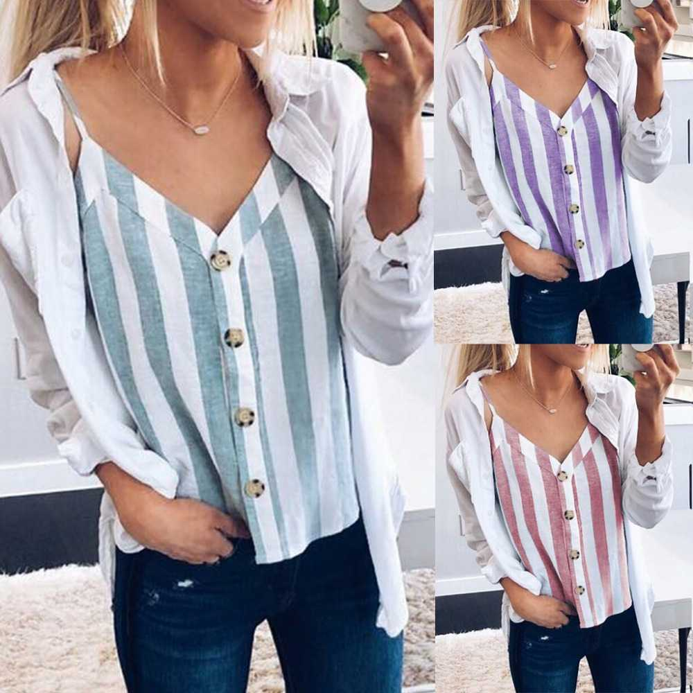 Patchwork Striped V Neck Button Up Cami Top