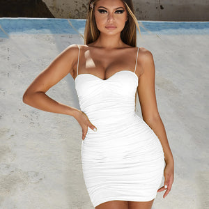 Flattering Sweetheart Neckline Ruched Bodycon Spaghetti Tight Dress
