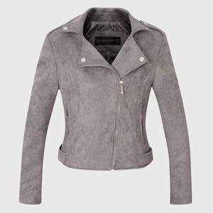 Large Lapel Collar Casual Motoclycle Jacket Zip Up Coat