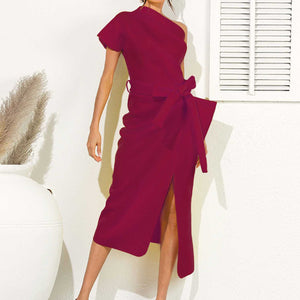One Shoulder Off Ruffle Hem Midi Dress With Slit