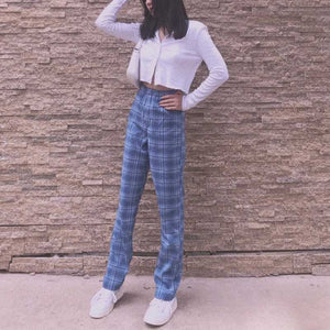 College Retro Gingham Straight Leg Checked Trousers Womens