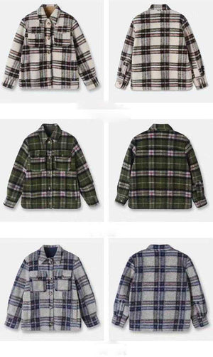 Dyed Pocket Overshirt Check Wool Blend Shirt Jacket