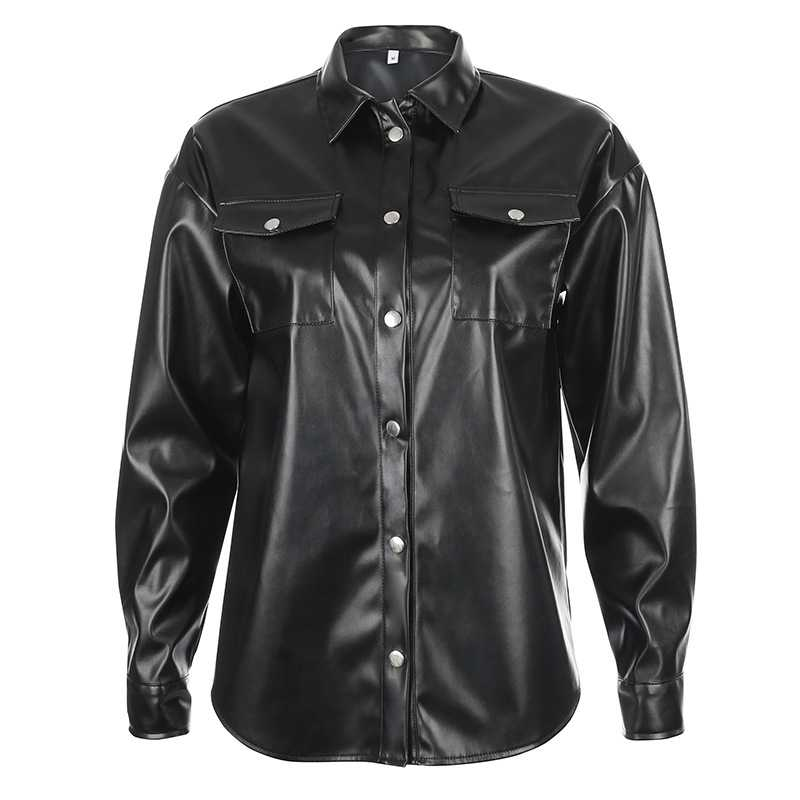 Black Faux Leather Shirt Jacket With Snap Pockets