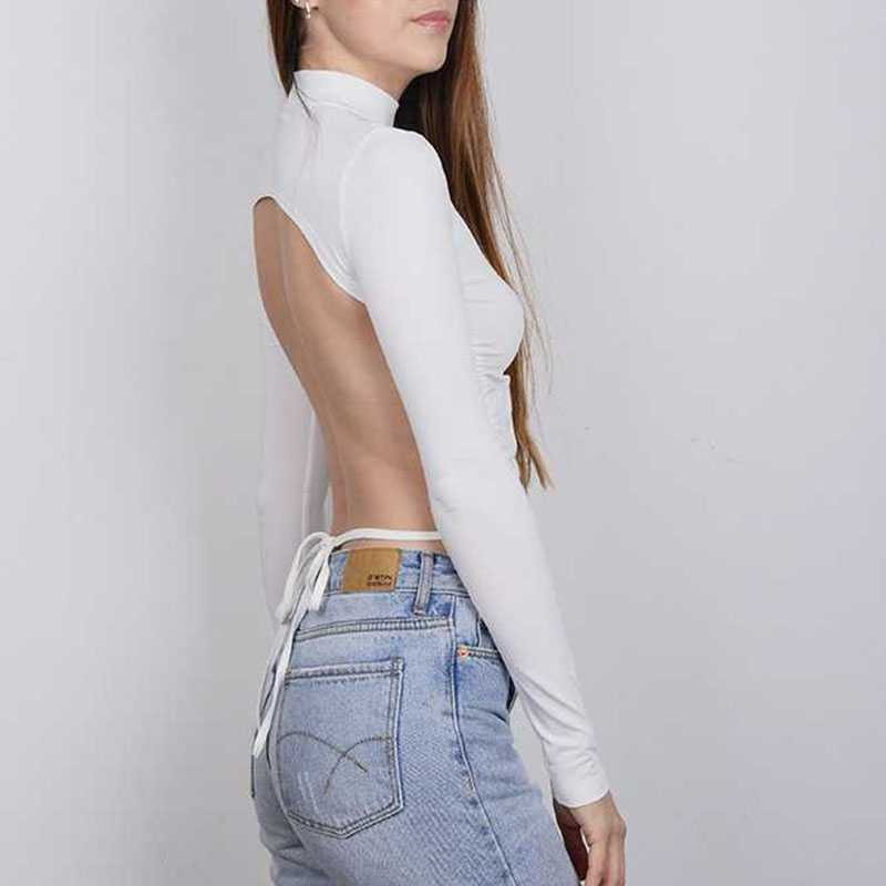 Chic Open Back T Shirt Long SLeeve Ruched Top Backless