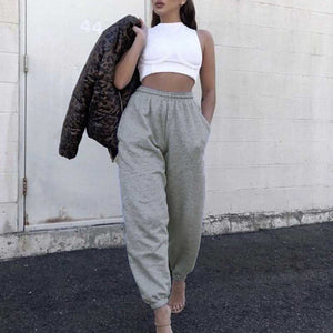 Comfortable Knit High Waisted Workout Jogger Sweatpants