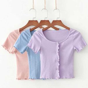 Classic Ribbed Scalloped Ruffle Sleeve Button Down Summer Ts Top
