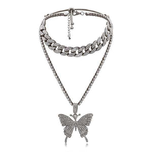 Studded Butterfly Layered Cuban Link Choker Chunky Double Chain Necklace