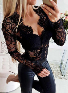Sexy Sweet Floral V Neck Black Sheer Lace Bodysuit With Sleeves