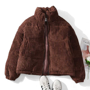 Short Corduroy Puffer Jacket Packable Down Bomber Coat