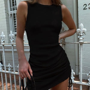 Round Neck Side Shirring Ruched Body Dress