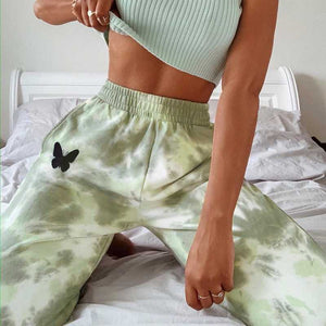 Aesthestic Tie Dye Sporty Pants High Waisted Joggers Pants