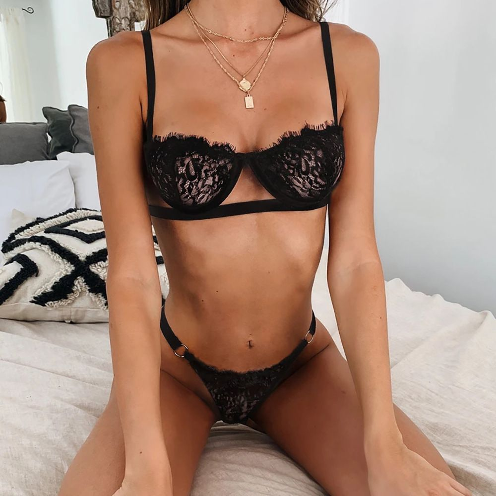 Push Up Mesh Lace Underwire Lace Bralette Set