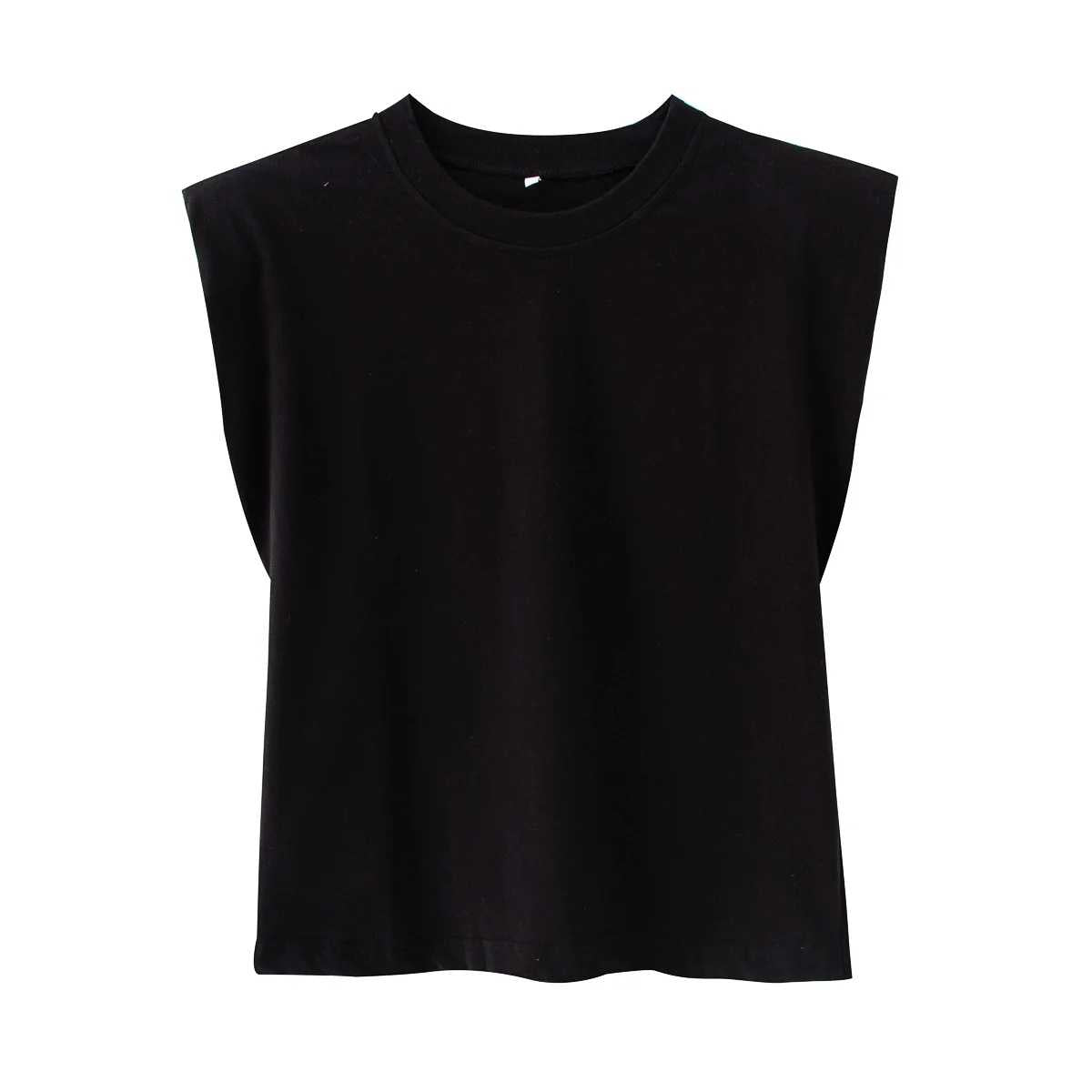 Cool Padded Shoulder Tank Top Tee Shirt With Shoulder Pad