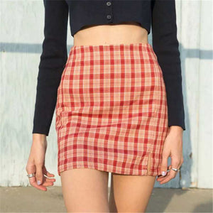 Cute A Line Checked High Thigh Split Mini Skirt For Young Women