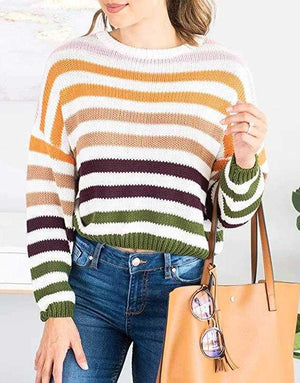 Blocked Colorful Stripes Cropped Turtleneck Sweater Long Sleeve