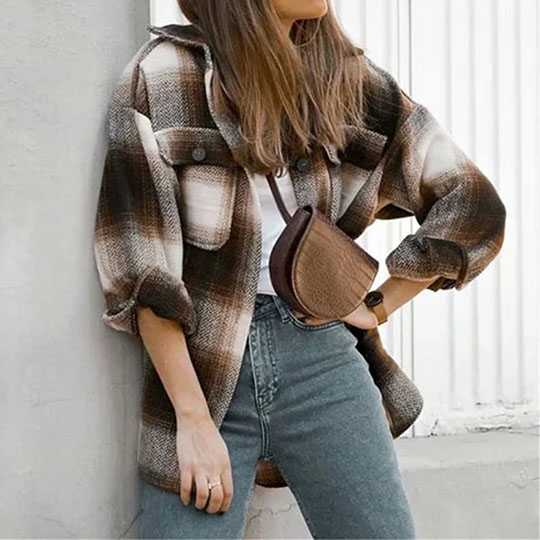 Classic Thick Colorblock Checked Button Down Shirt Jacket Woolen